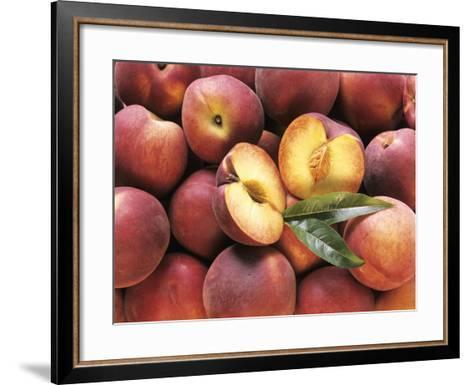 Many Whole Peaches with One Halved--Framed Art Print
