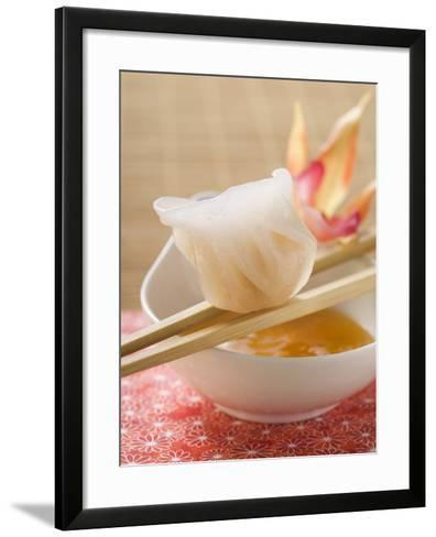 Dim Sum on Chopsticks over Dip (Asia)--Framed Art Print
