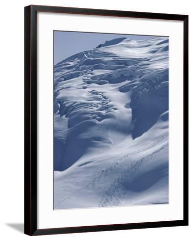 Aerial View of Three Skiers--Framed Art Print