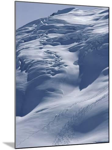 Aerial View of Three Skiers--Mounted Photographic Print