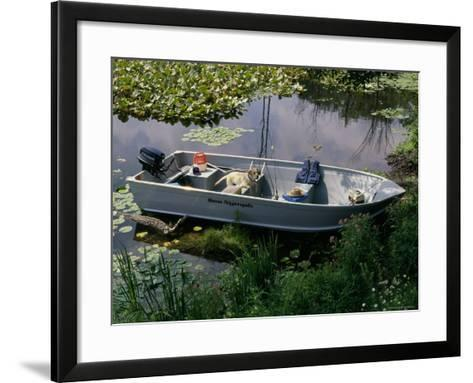 A Dog in a Boat on a Pond--Framed Art Print