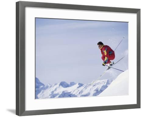 Male Skier Jumping--Framed Art Print