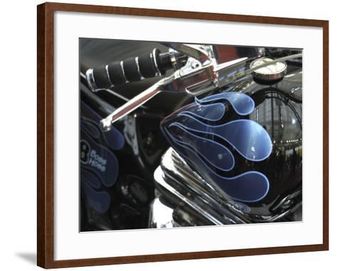 Close-up of Flame Design on a Motorcycle--Framed Art Print