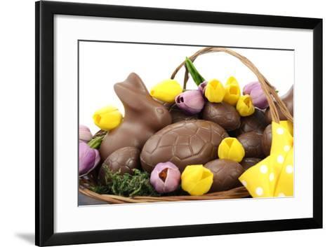 Easter Chocolate Hamper of Eggs and Bunny Rabbits Basket.- millefloreimages-Framed Art Print