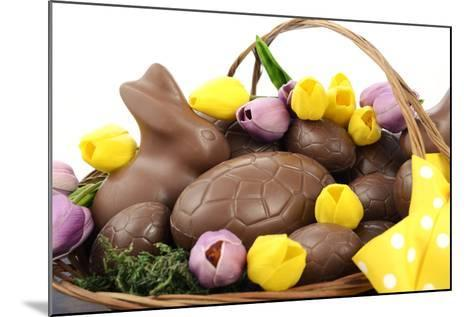 Easter Chocolate Hamper of Eggs and Bunny Rabbits Basket.- millefloreimages-Mounted Photographic Print
