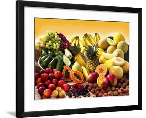 Display of Exotic Fruit with Stone Fruits, Berries and Avocados--Framed Art Print