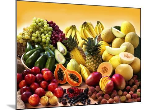 Display of Exotic Fruit with Stone Fruits, Berries and Avocados--Mounted Photographic Print