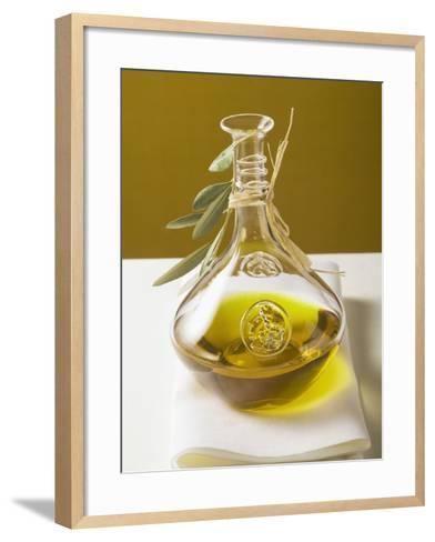Olive Oil in Carafe with Olive Branch--Framed Art Print