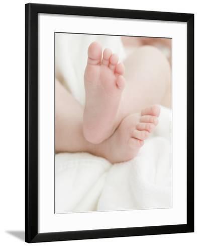 Baby Feet on a White Towel--Framed Art Print