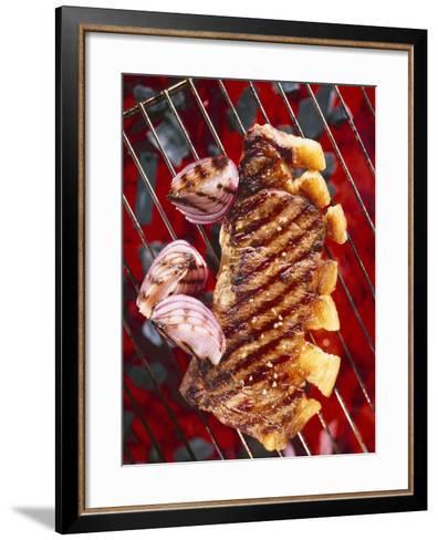 Sirloin Steak with Onions on a Barbecue-Ulrike Koeb-Framed Art Print