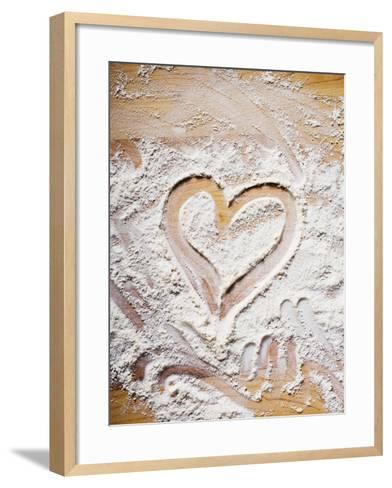Heart Drawn in Flour on Wooden Background--Framed Art Print