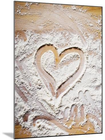 Heart Drawn in Flour on Wooden Background--Mounted Photographic Print