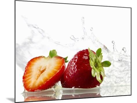 Strawberries with Splashing Water-Michael L?ffler-Mounted Photographic Print