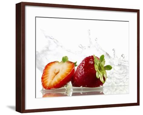 Strawberries with Splashing Water-Michael L?ffler-Framed Art Print