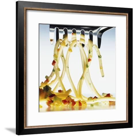Spaghetti with Vegetables and Herbs on a Spaghetti Spoon-Jörk Hettmann-Framed Art Print