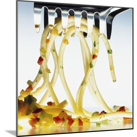 Spaghetti with Vegetables and Herbs on a Spaghetti Spoon-Jörk Hettmann-Mounted Photographic Print