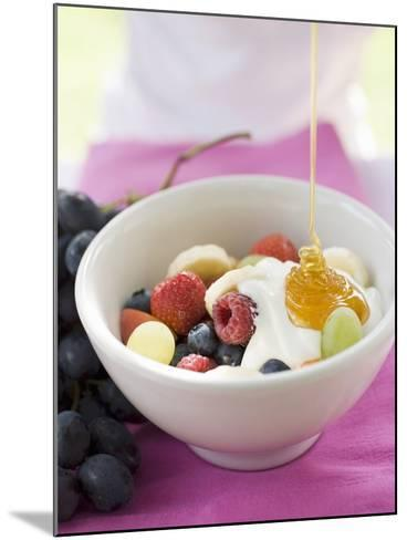 Honey Running onto Fruit Muesli with Yoghurt--Mounted Photographic Print