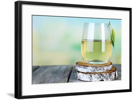 Glass of Fresh Birch Sap on a Wooden Table on Nature Background-Africa Studio-Framed Art Print