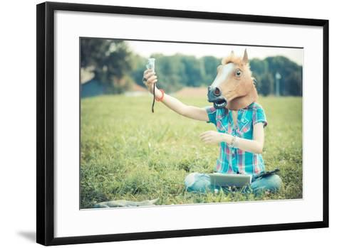 Horse Mask Unreal Hipster Woman Using Technology-Eugenio Marongiu-Framed Art Print