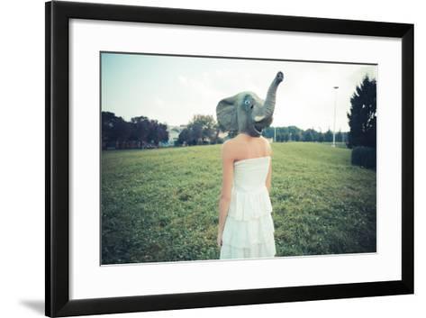 Elephant Mask Beautiful Young Woman with White Dress-Eugenio Marongiu-Framed Art Print