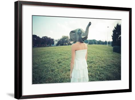 Elephant Mask Beautiful Young Woman with White Dress-Eugenio Marongiu-Framed Art Print