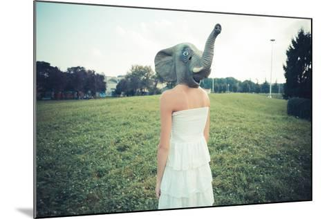 Elephant Mask Beautiful Young Woman with White Dress-Eugenio Marongiu-Mounted Photographic Print