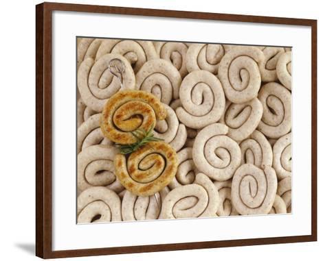 Grilled Sausage Coils on Many Fresh Sausages-Luzia Ellert-Framed Art Print
