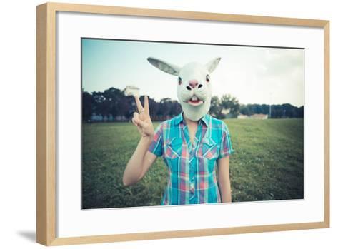 Rabbit Mask Absurd Beautiful Young Hipster Woman-Eugenio Marongiu-Framed Art Print