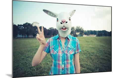 Rabbit Mask Absurd Beautiful Young Hipster Woman-Eugenio Marongiu-Mounted Photographic Print