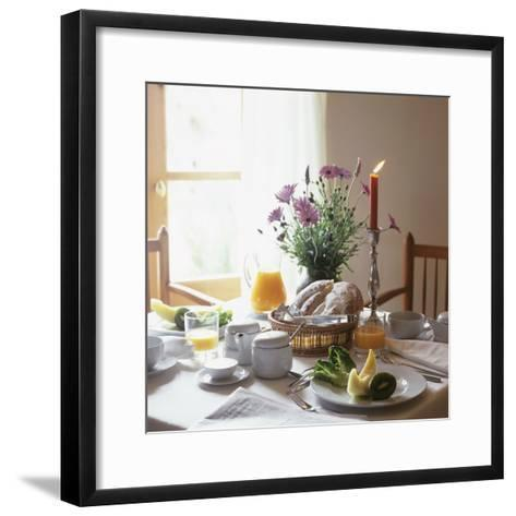 Laid Breakfast Table with Baked Goods, Juice and Fruit--Framed Art Print