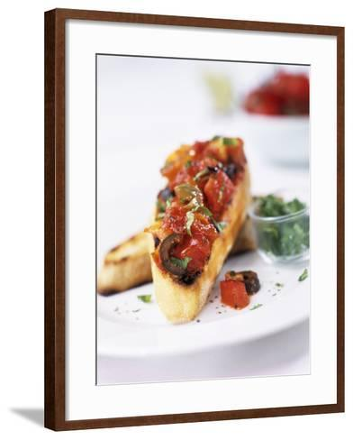 Bruschetta with Tomatoes and Olives-Ian Garlick-Framed Art Print