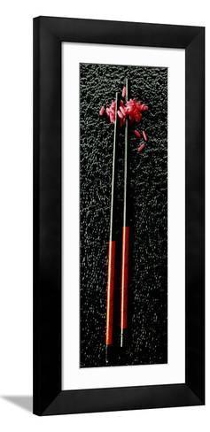 Red Rice with Chopsticks on Black Background--Framed Art Print