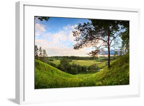 Landscape Panorama of Valley with a Lonely Pine-Aleksandr Matveev-Framed Art Print
