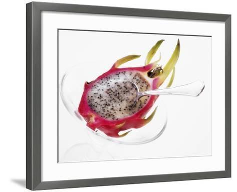 Half a Pitahaya in Glass Bowl with Teaspoon-Dieter Heinemann-Framed Art Print