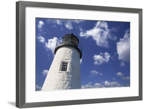 Lighthouse in the Cloudy Sky- benemale-Framed Art Print