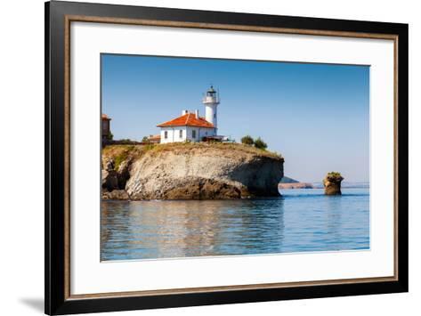 White Lighthouse Tower on St. Anastasia Island- eugenesergeev-Framed Art Print