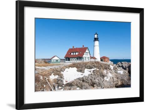Portland, Maine - Portland Head Light in Winter-adamparent-Framed Art Print