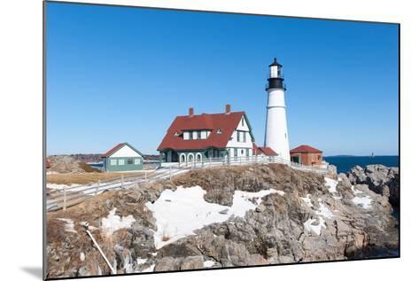 Portland, Maine - Portland Head Light in Winter-adamparent-Mounted Photographic Print