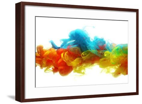 Colorful Ink in Water-SSilver-Framed Art Print