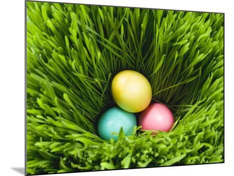 Three Easter Eggs in Grass--Mounted Photographic Print