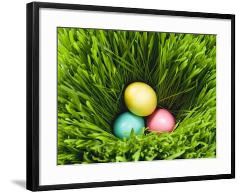 Three Easter Eggs in Grass--Framed Art Print