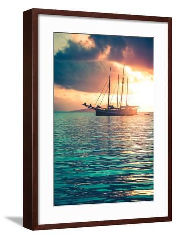 Recreational Yacht at the Indian Ocean-dvoevnore-Framed Art Print