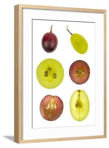 Collage of Sliced Red and Green Grapes-YellowPaul-Framed Art Print