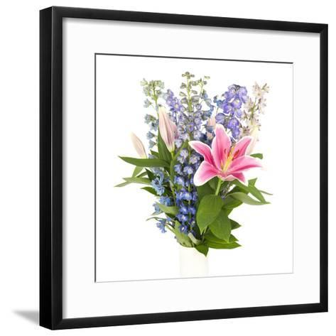 Bouquet of Flowers in Square Frame-YellowPaul-Framed Art Print