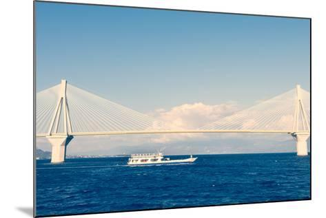 Ferry Boat Sailing under Suspension Bridge-anzebizjan-Mounted Photographic Print