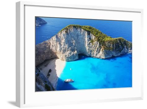 Navagio Beach in Zakynthos, Greece- milda79-Framed Art Print