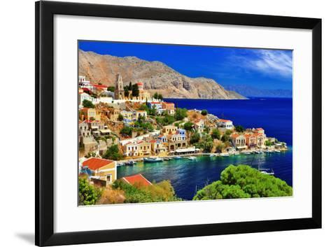 Wonderful Greece. Symi Island , Dodecanese-Freesurf-Framed Art Print