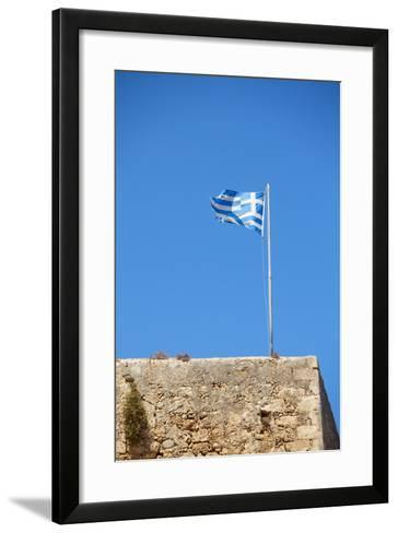 Fluttering Greek Flag-Dmitry Naumov-Framed Art Print