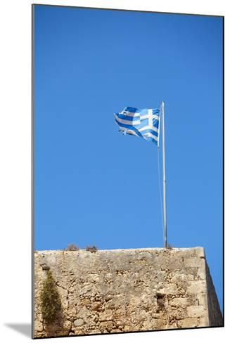 Fluttering Greek Flag-Dmitry Naumov-Mounted Photographic Print