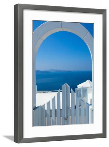 White Gate Overlooking Ocean-EvanTravels-Framed Art Print